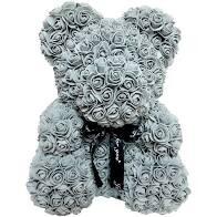 Grey Forever Rose Teddy Bear