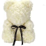 Ivory  Forever Rose Teddy Bear