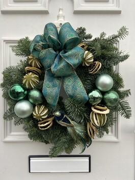 Decadence Real Christmas Wreath I Peacock