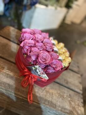 Lilac Rose Heart Hat Box