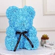 Blue Forever Rose Teddy Bear