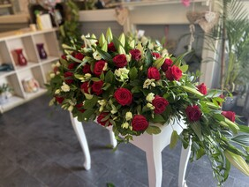 Coffin Tribute - Red Rose and Lily - Various Sizes