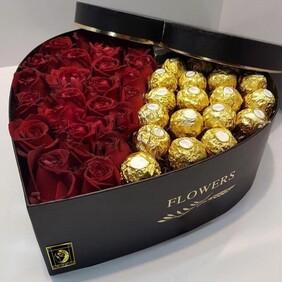 Red Rose and Ferrero Rocher Chocolate Hat Box