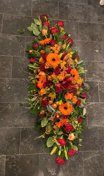 Coffin Tribute  - Red and Orange